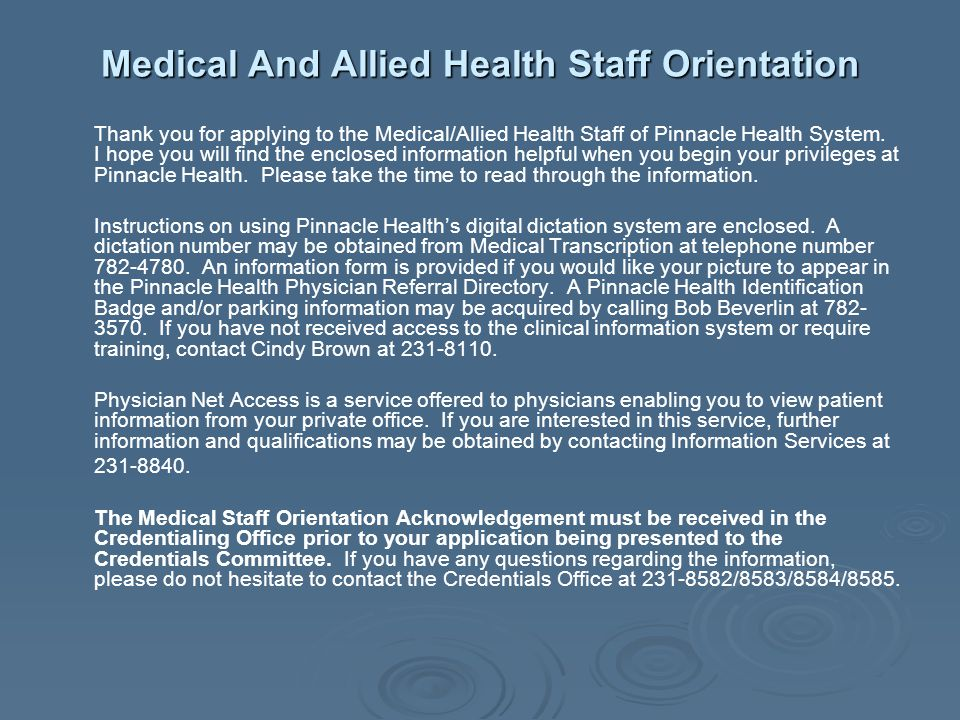Medical And Allied Health Staff Orientation