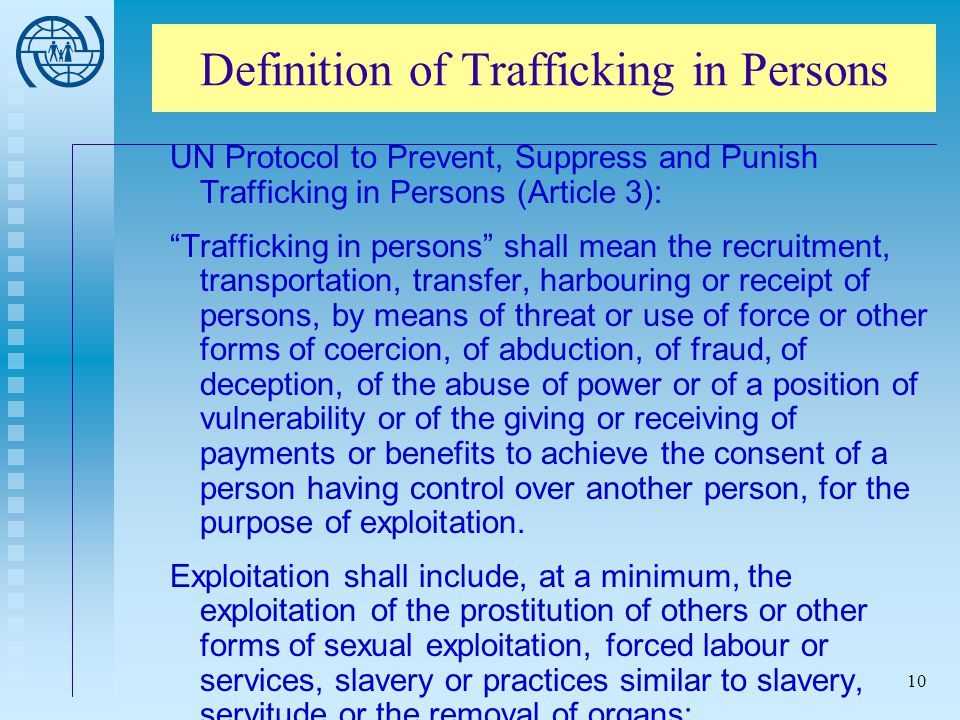 Definition of Trafficking in Persons
