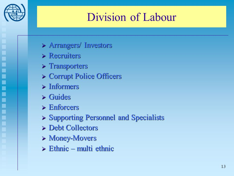 Division of Labour Arrangers/ Investors Recruiters Transporters