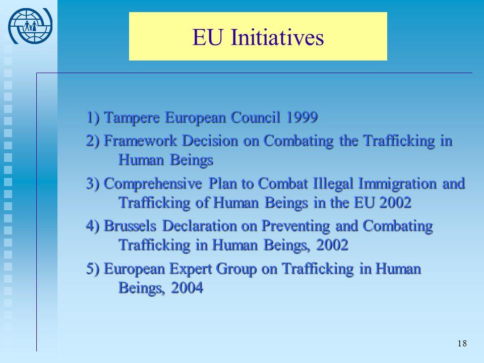 EU Initiatives 1) Tampere European Council 1999