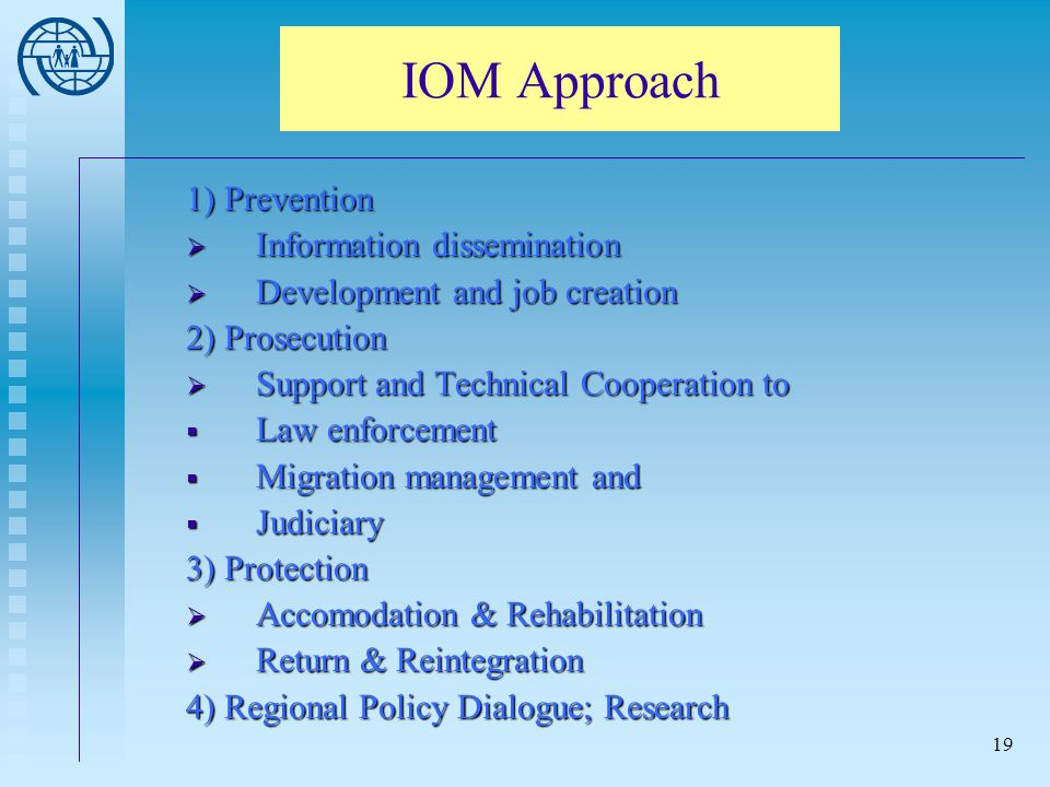 IOM Approach 1) Prevention Information dissemination