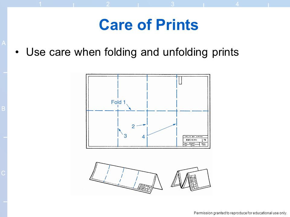 Care of Prints Use care when folding and unfolding prints