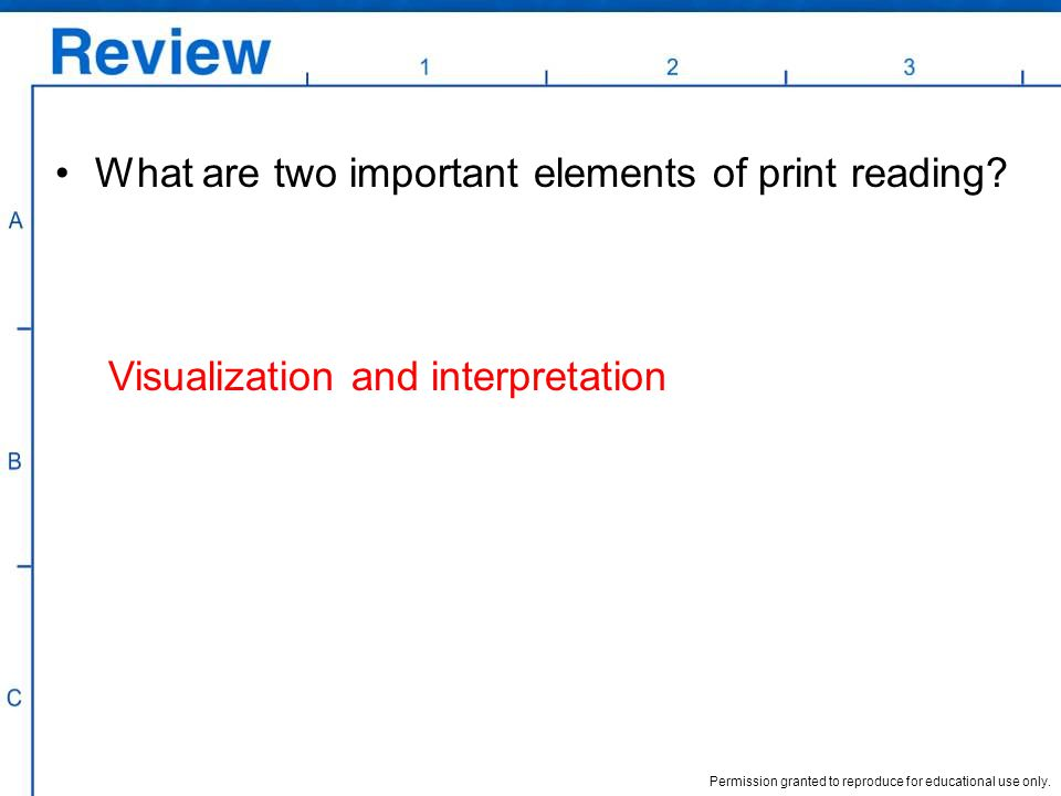 What are two important elements of print reading