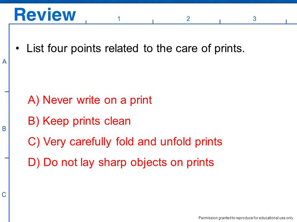 List four points related to the care of prints.