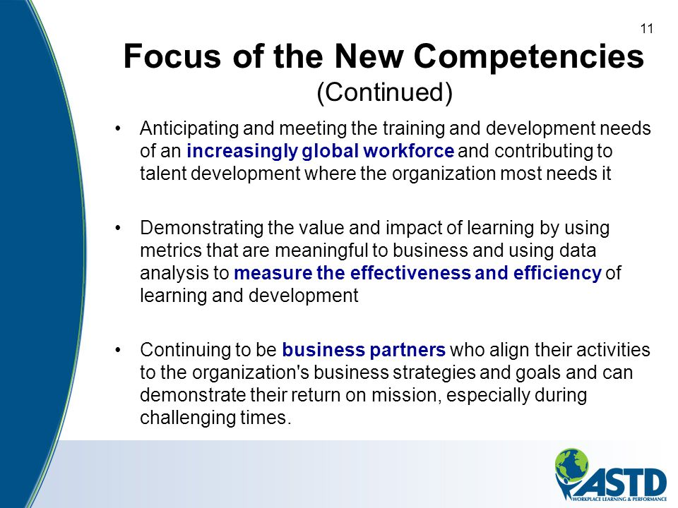 Focus of the New Competencies (Continued)