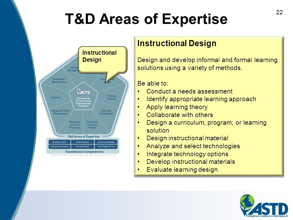 T&D Areas of Expertise Instructional Design