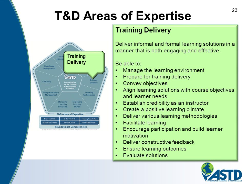 T&D Areas of Expertise Training Delivery