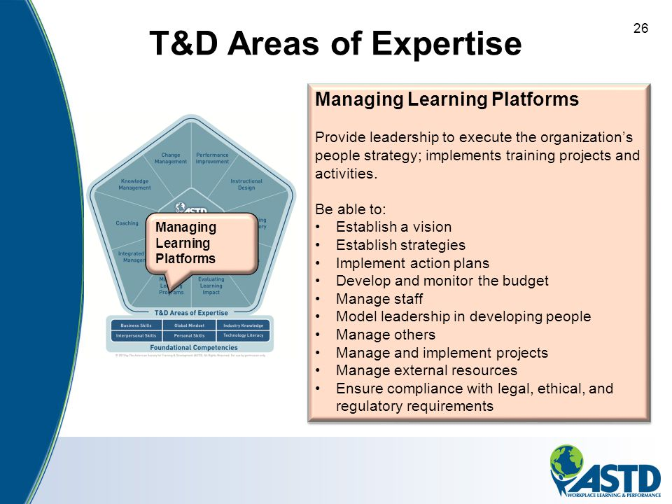 T&D Areas of Expertise Managing Learning Platforms