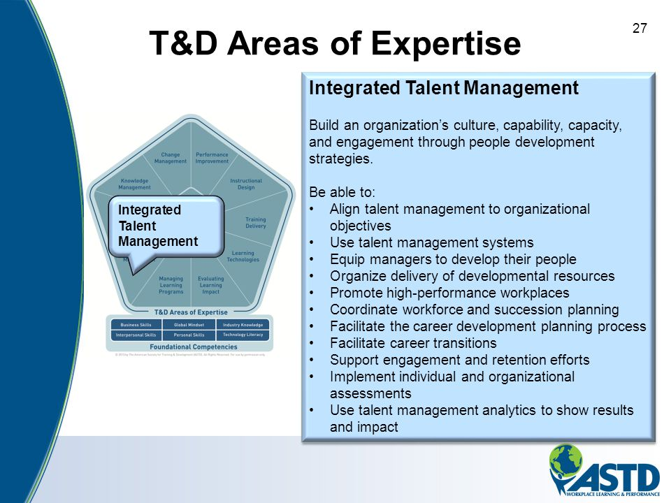 T&D Areas of Expertise Integrated Talent Management