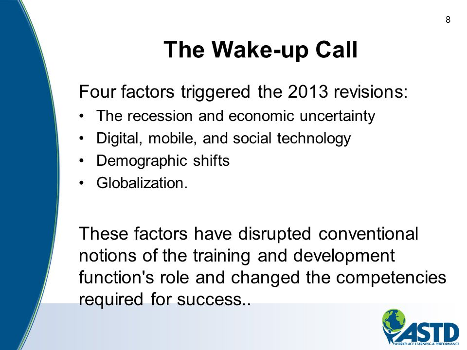 The Wake-up Call Four factors triggered the 2013 revisions: