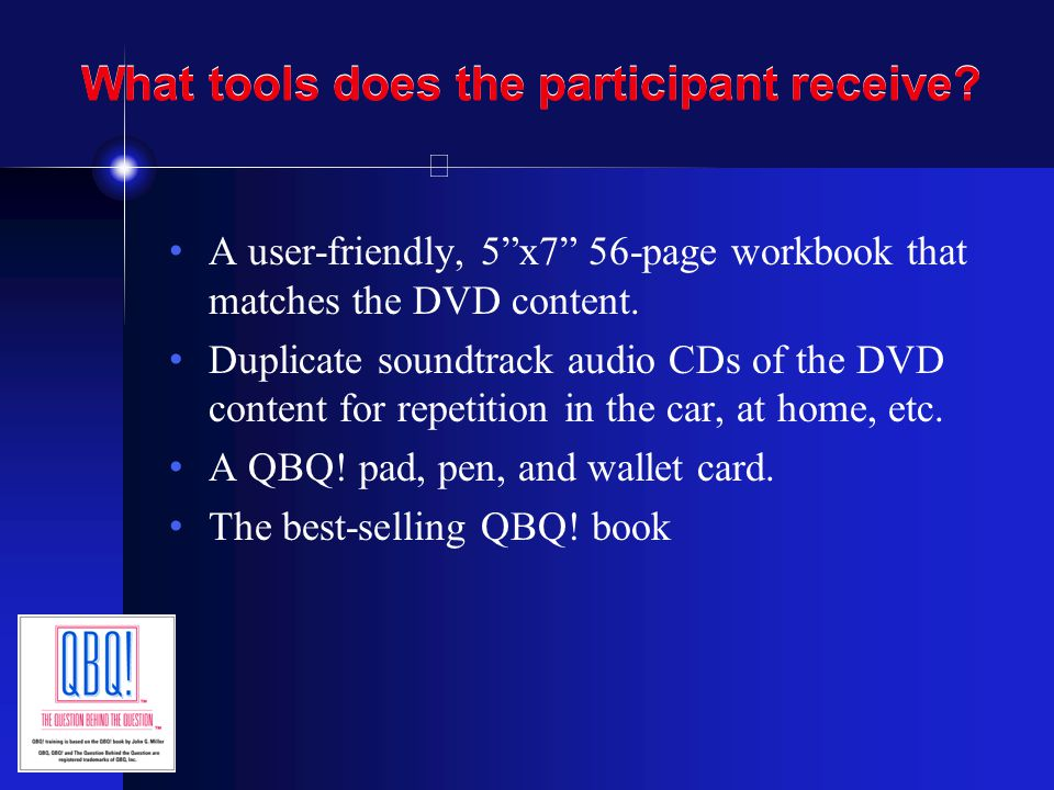 What tools does the participant receive