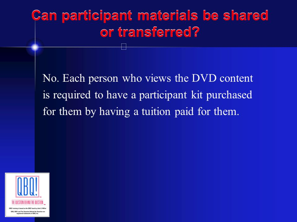 Can participant materials be shared or transferred