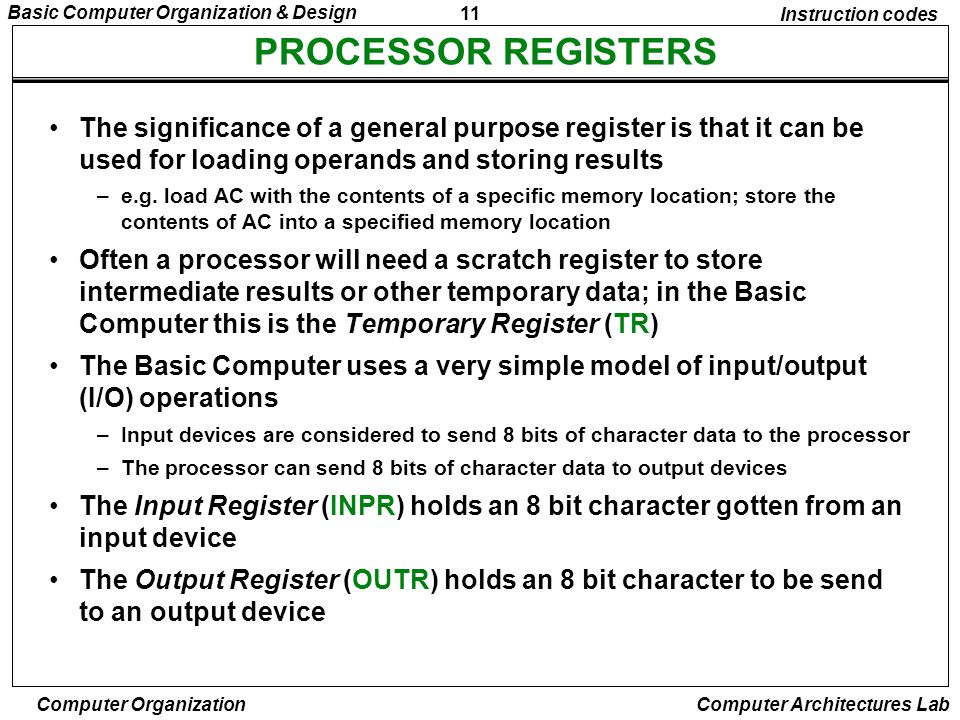 Instruction codes PROCESSOR REGISTERS.