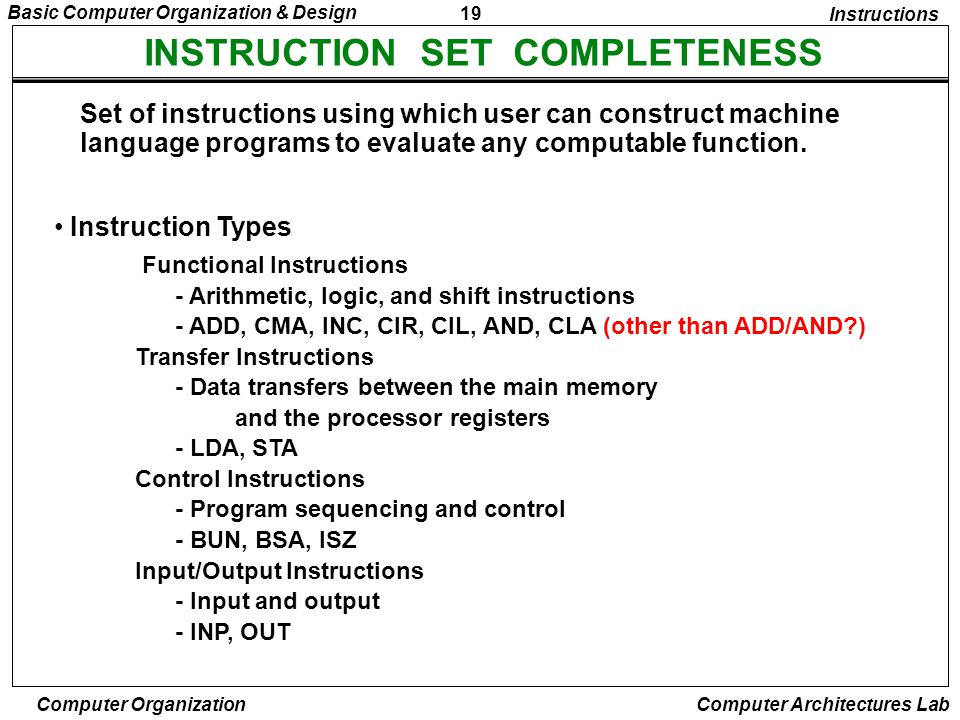INSTRUCTION SET COMPLETENESS