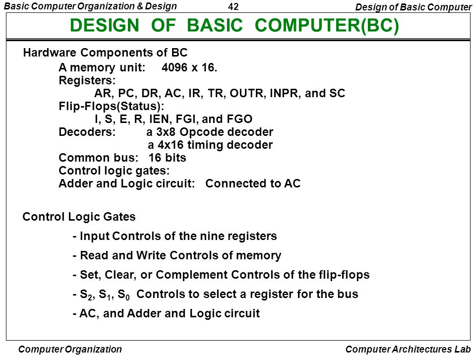 DESIGN OF BASIC COMPUTER(BC)