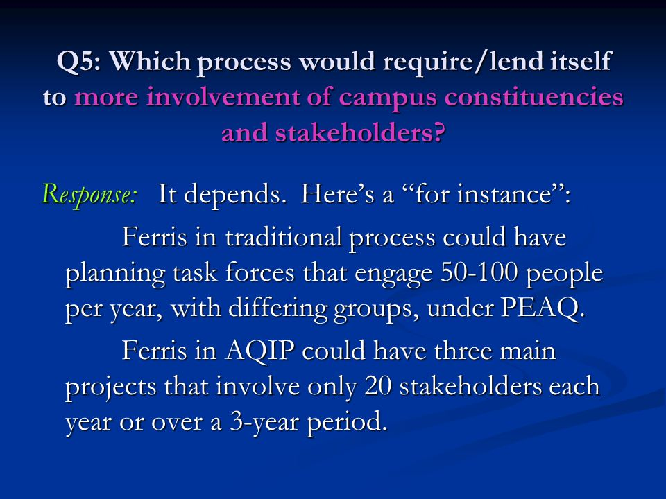 Q5: Which process would require/lend itself to more involvement of campus constituencies and stakeholders