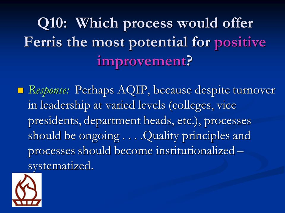 Q10: Which process would offer Ferris the most potential for positive improvement
