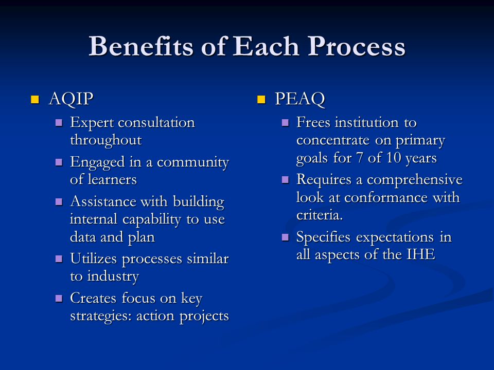 Benefits of Each Process