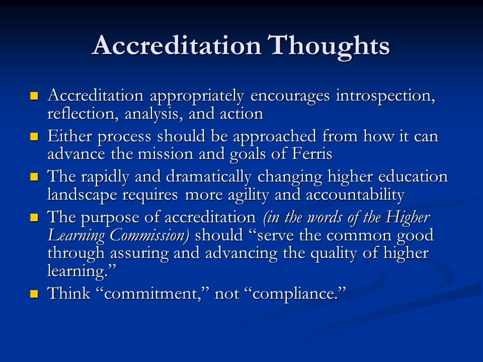 Accreditation Thoughts