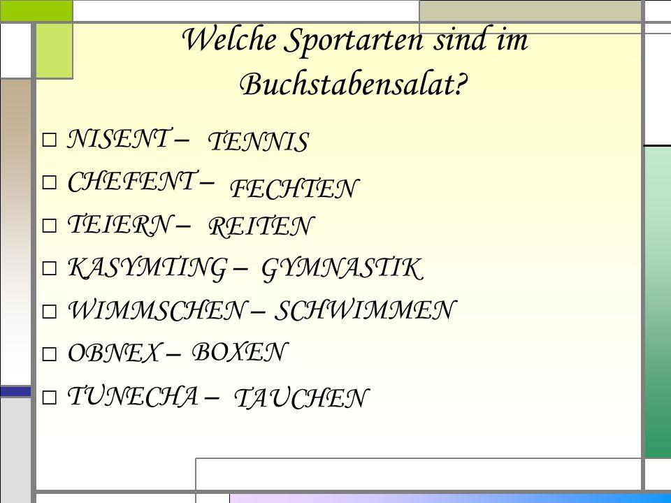 Welche Sportarten sind im Buchstabensalat