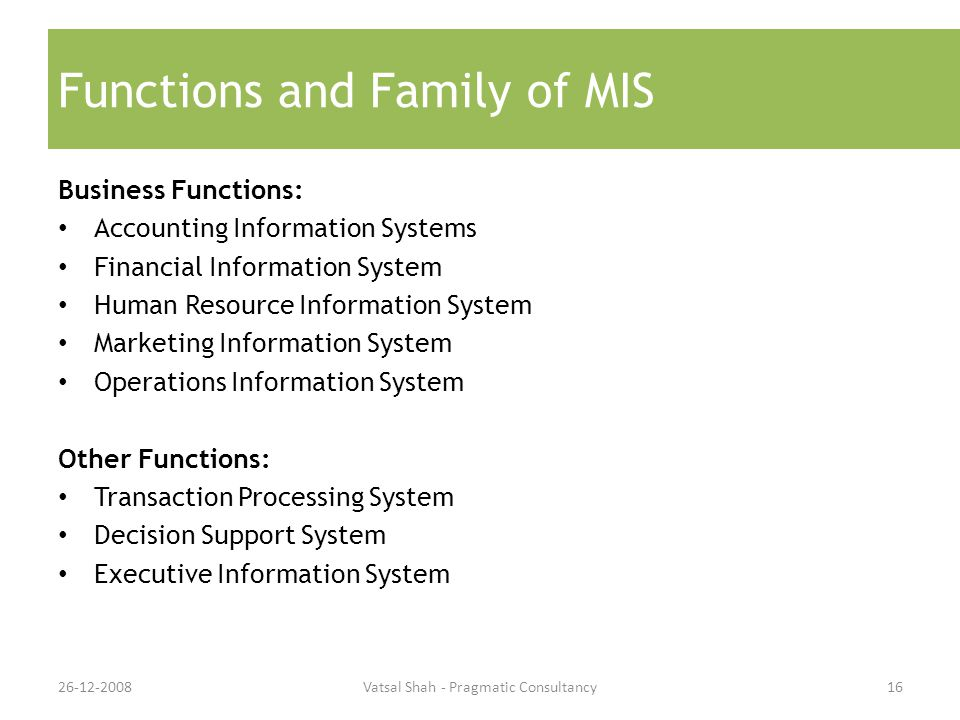 Functions and Family of MIS