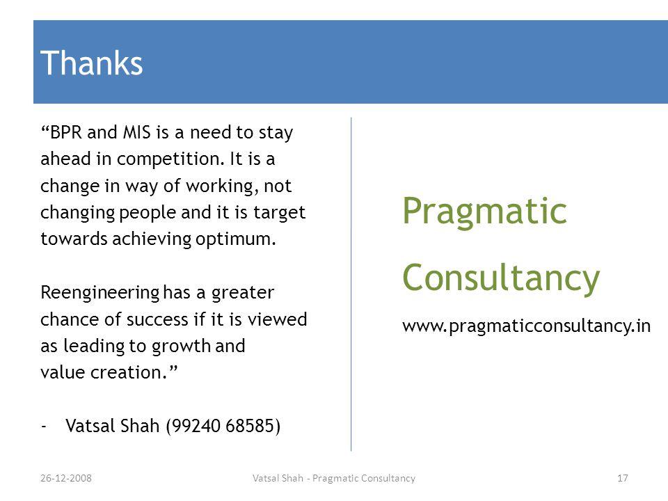 Vatsal Shah - Pragmatic Consultancy