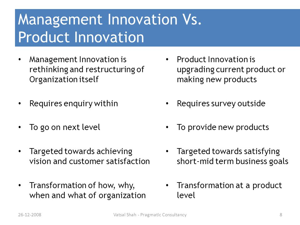 Management Innovation Vs. Product Innovation