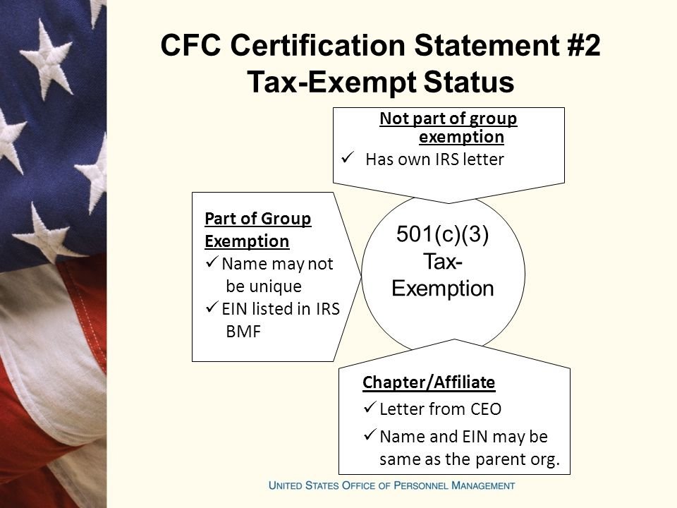 CFC Certification Statement #2 Tax-Exempt Status