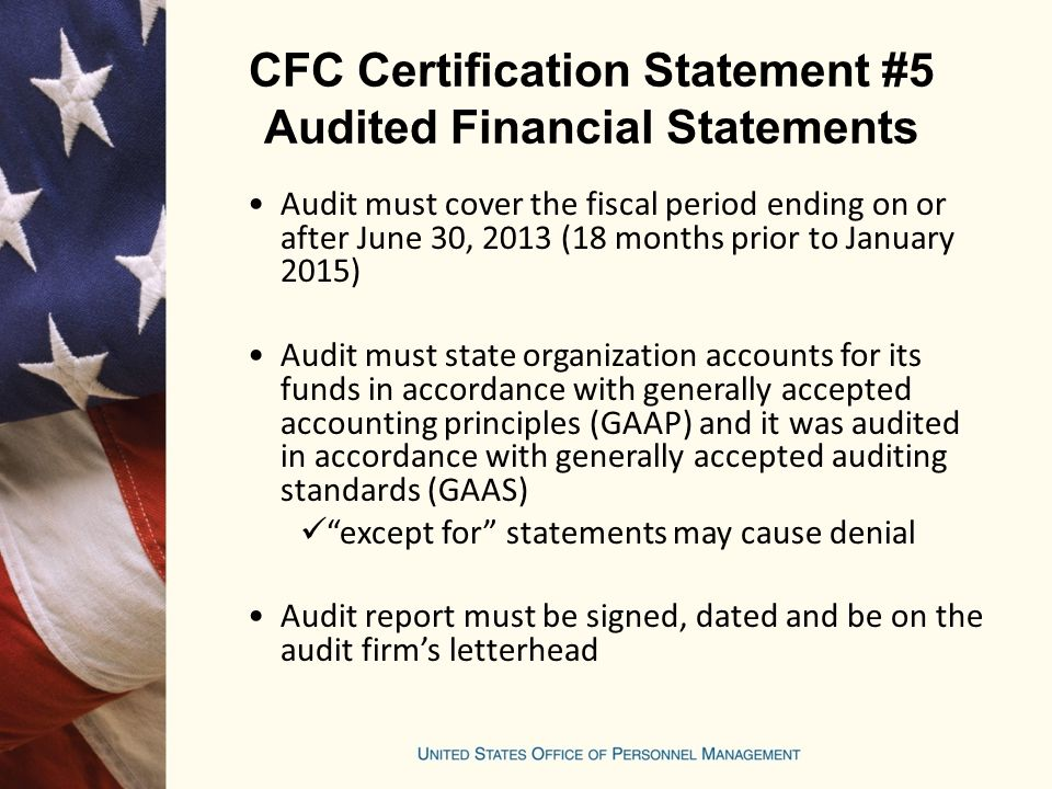 CFC Certification Statement #5 Audited Financial Statements
