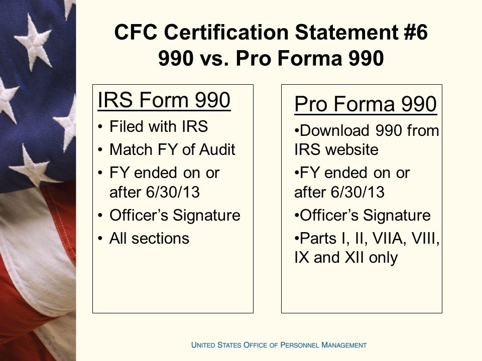 CFC Certification Statement #6 990 vs. Pro Forma 990