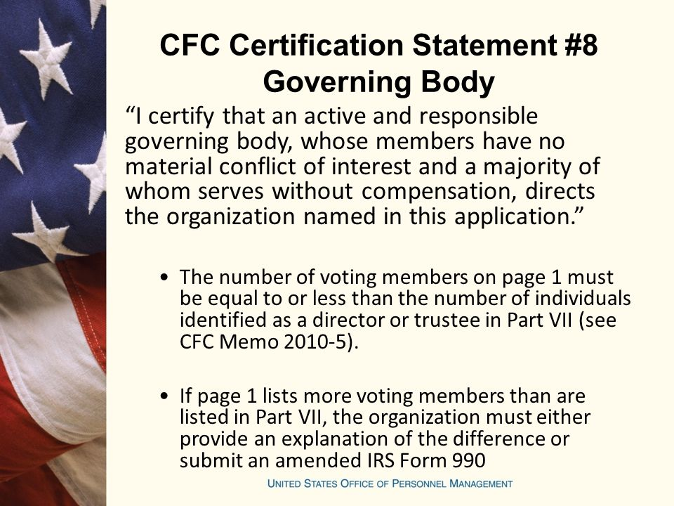 CFC Certification Statement #8 Governing Body