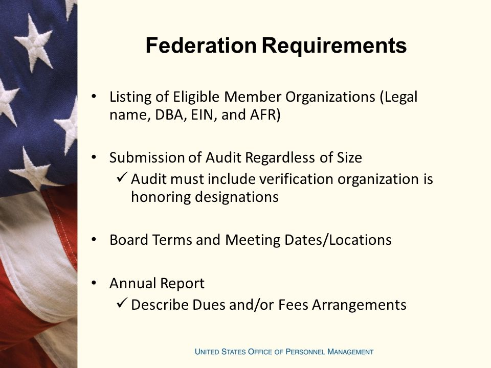 Federation Requirements