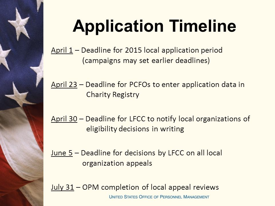 Application Timeline April 1 – Deadline for 2015 local application period (campaigns may set earlier deadlines)