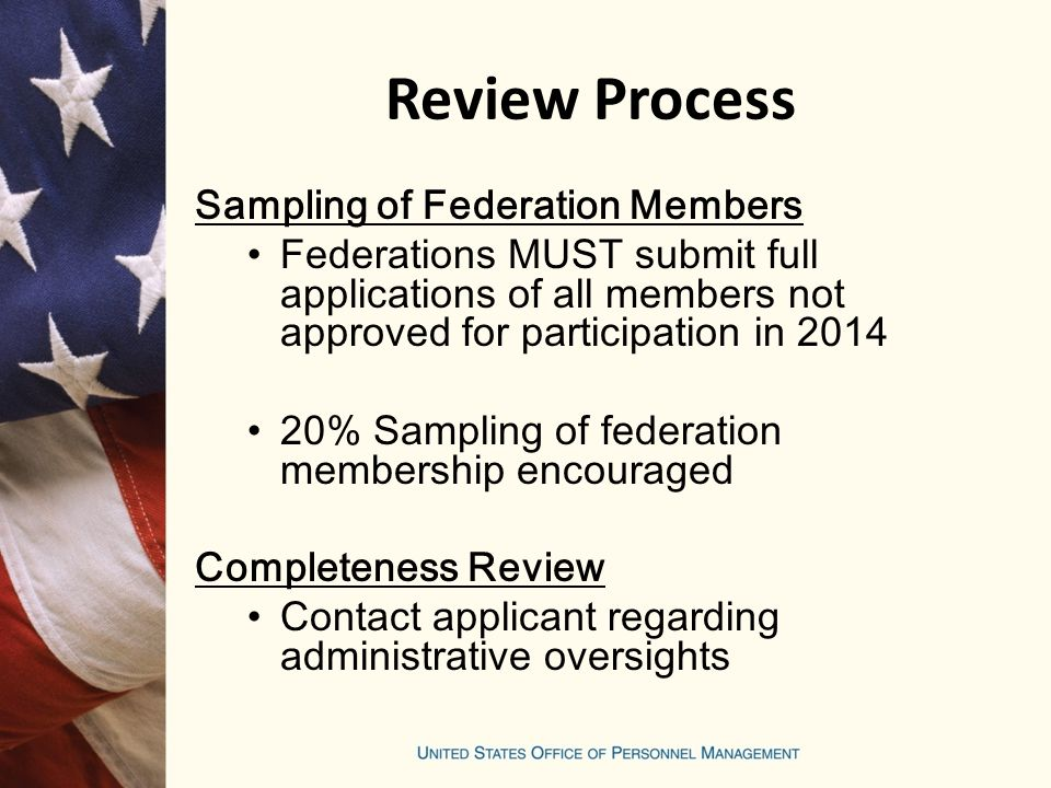 Review Process Sampling of Federation Members