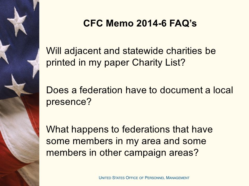 CFC Memo 2014-6 FAQ's Will adjacent and statewide charities be printed in my paper Charity List