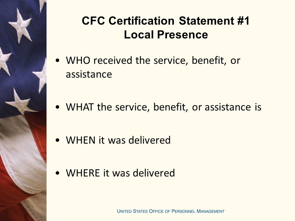 CFC Certification Statement #1 Local Presence