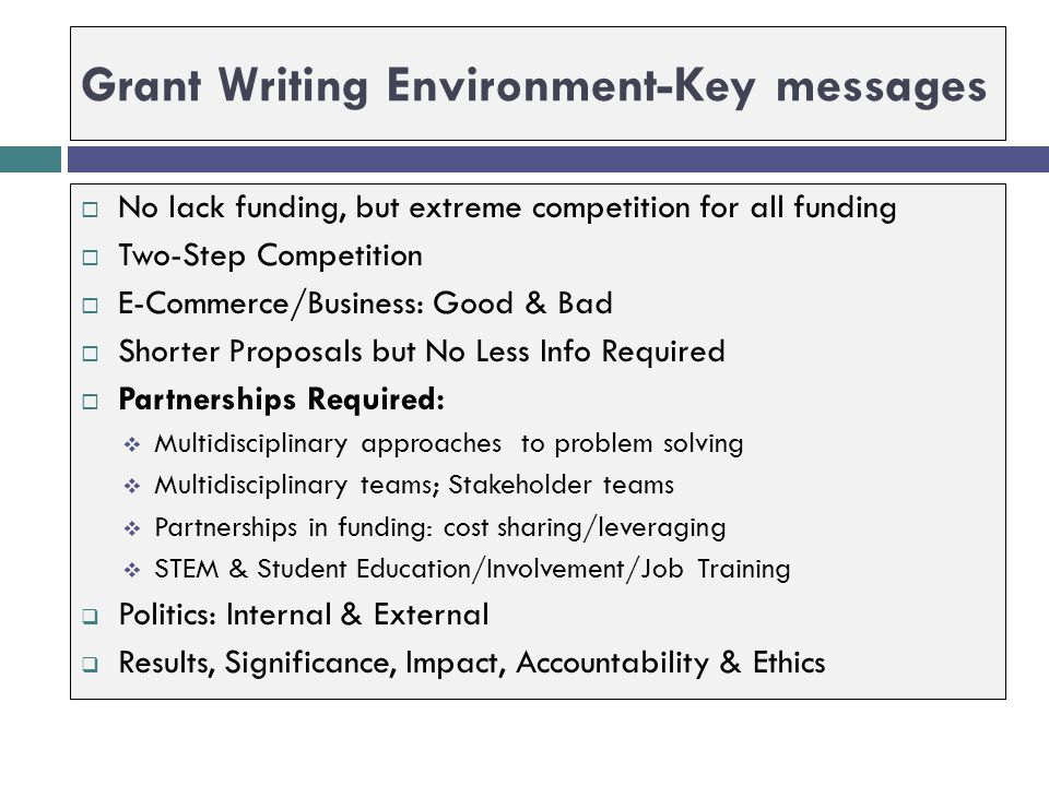 Grant Writing Environment-Key messages