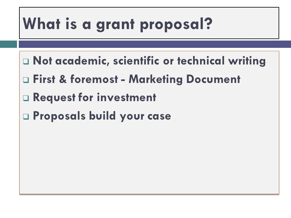 What is a grant proposal