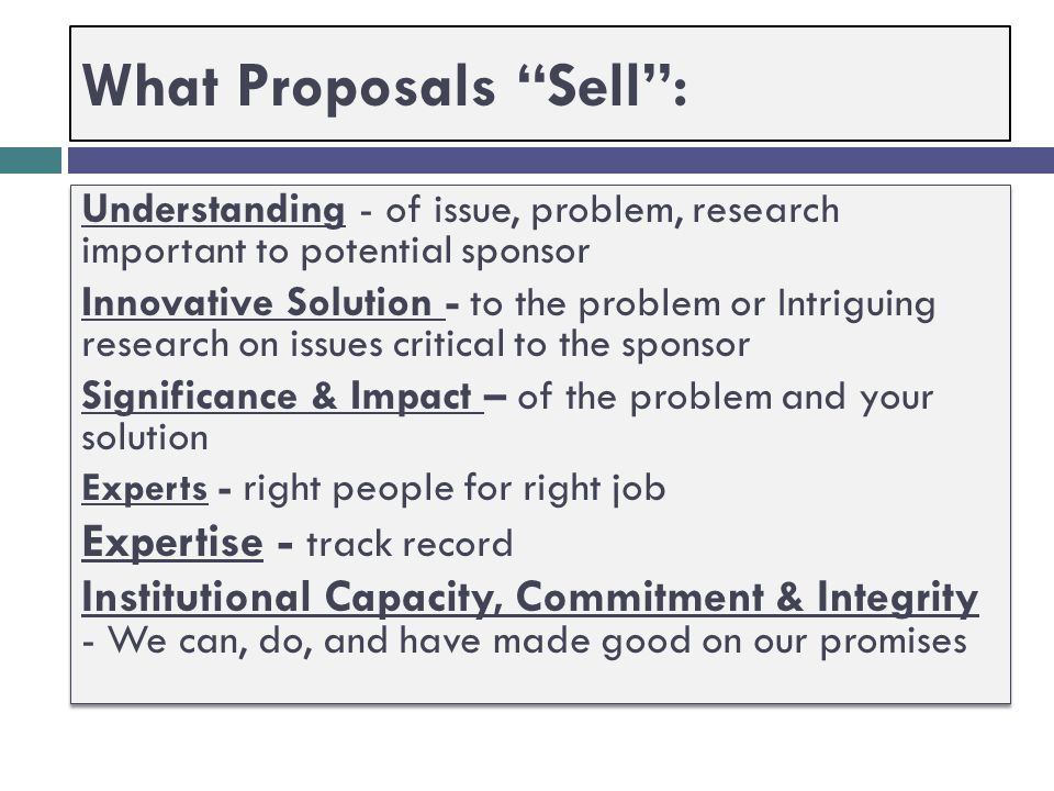What Proposals Sell :