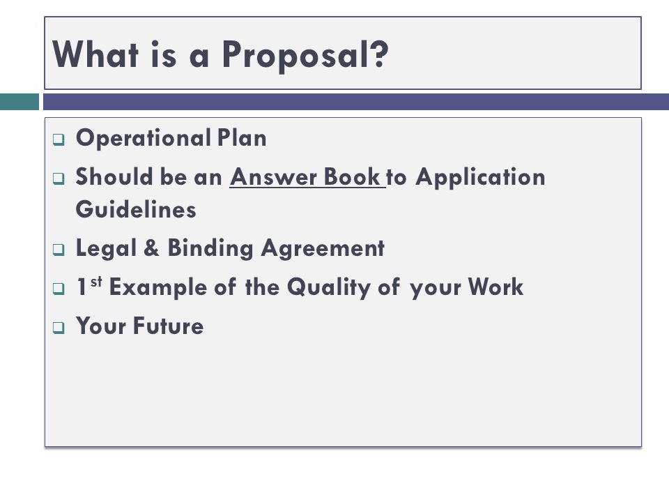 What is a Proposal Operational Plan