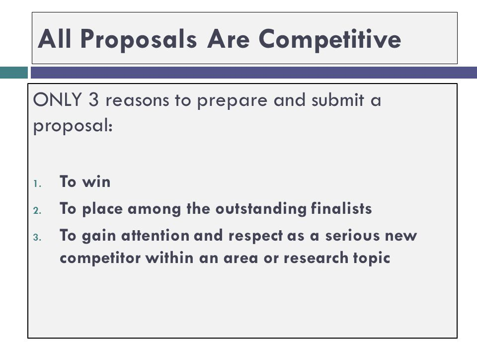 All Proposals Are Competitive