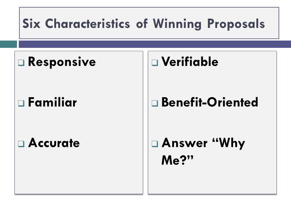 Six Characteristics of Winning Proposals