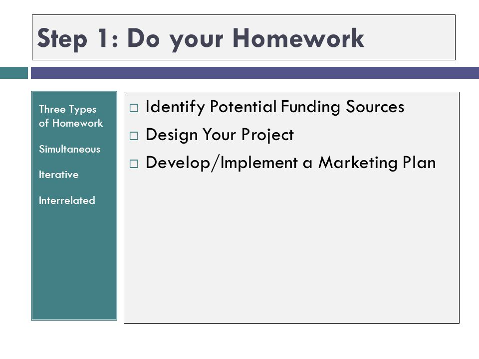 Step 1: Do your Homework Identify Potential Funding Sources