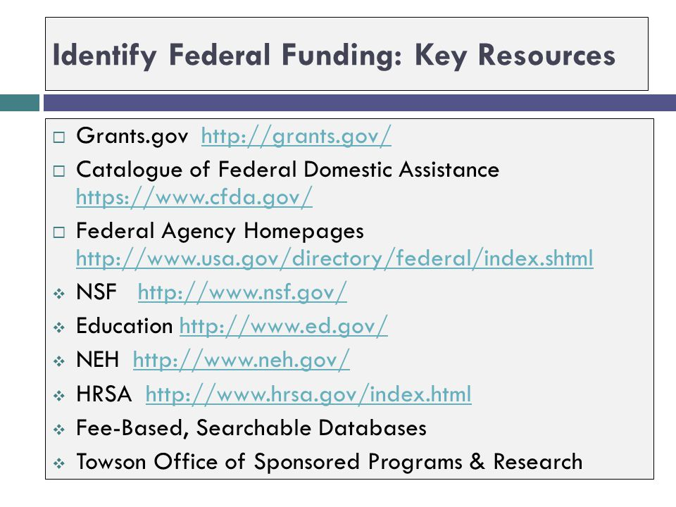 Identify Federal Funding: Key Resources