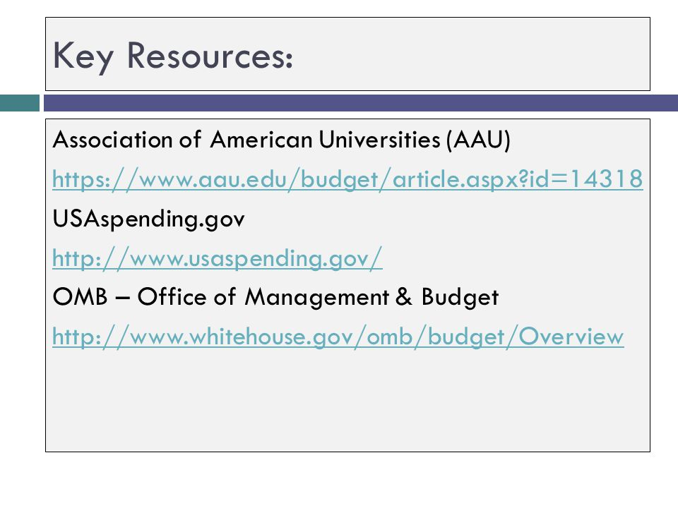 Key Resources: Association of American Universities (AAU)