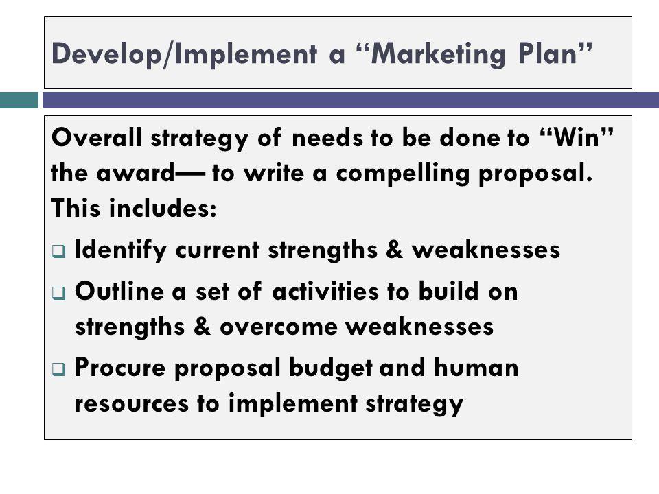 Develop/Implement a Marketing Plan