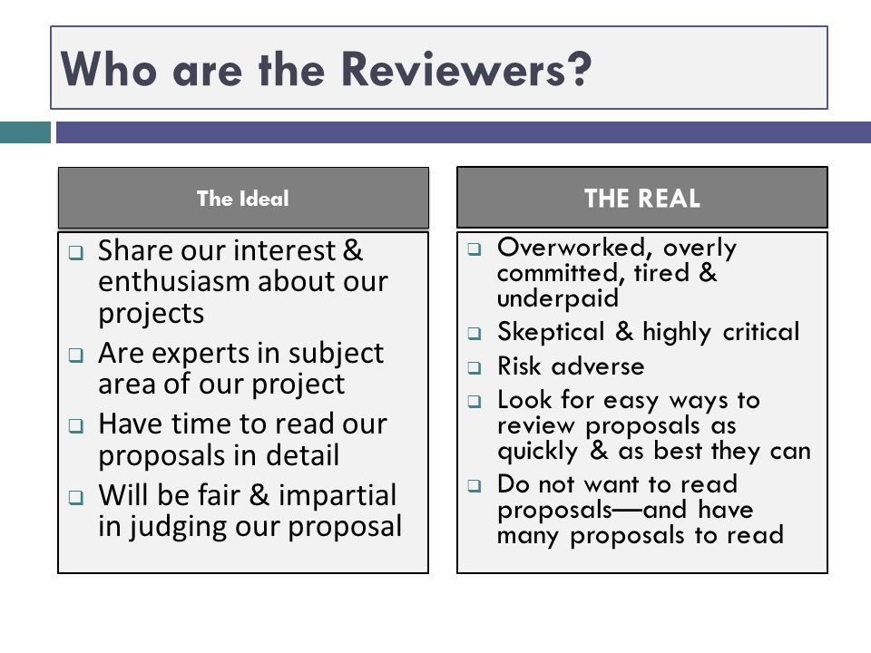 Who are the Reviewers The Ideal. THE REAL. Share our interest & enthusiasm about our projects.