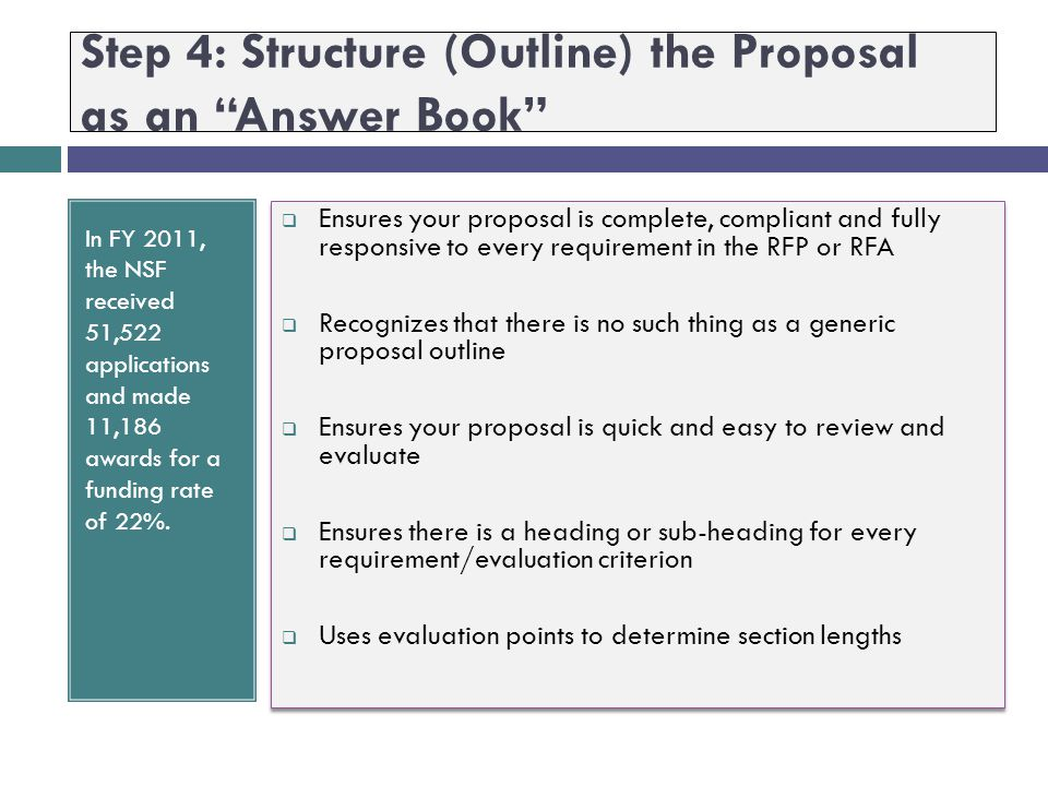 Step 4: Structure (Outline) the Proposal as an Answer Book