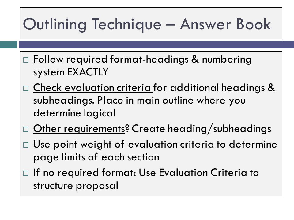 Outlining Technique – Answer Book