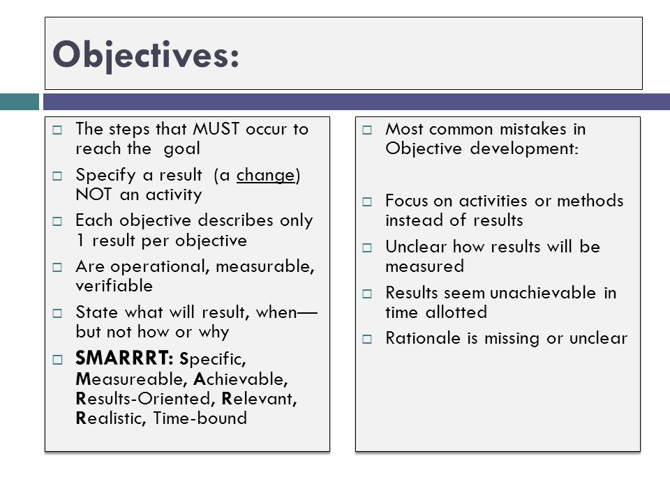 Objectives: The steps that MUST occur to reach the goal. Specify a result (a change) NOT an activity.